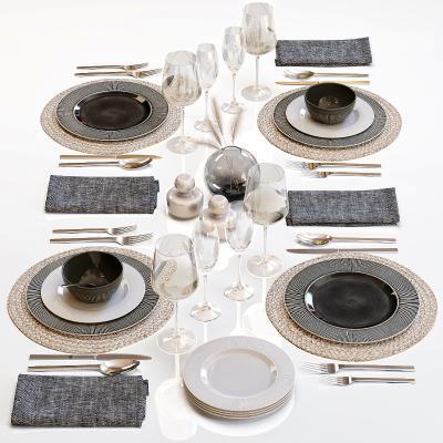 现代餐具 摆盘 餐台 陈设