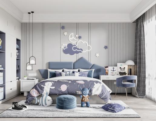 现代儿童房 男孩房 双人床 吊灯