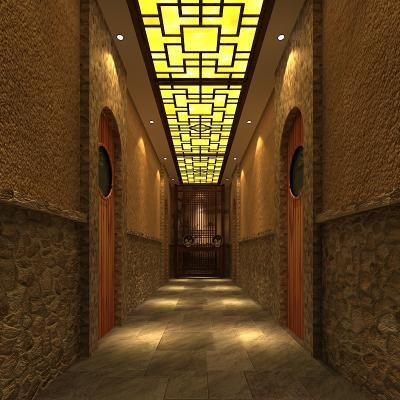 中式桑拿会所走廊