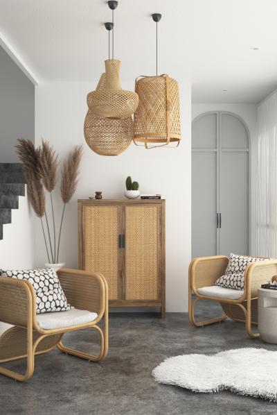 东南亚组合沙发 玄关 藤椅 藤编灯