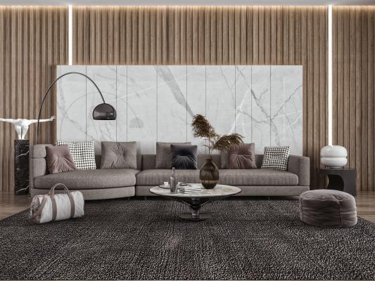 现代客厅 多人沙发 异行沙发