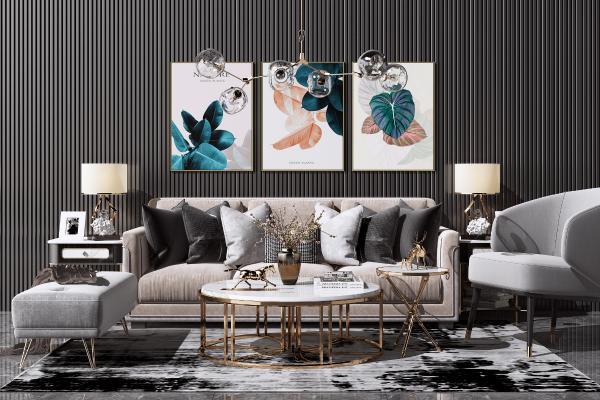 現代輕奢布藝沙發茶幾組合 休閑單人椅子 金屬水晶吊燈