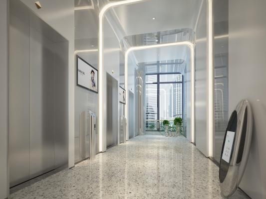 现代公司电梯过道
