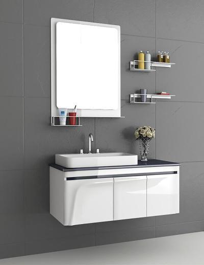 现代浴室柜 洗手盆 实木柜体