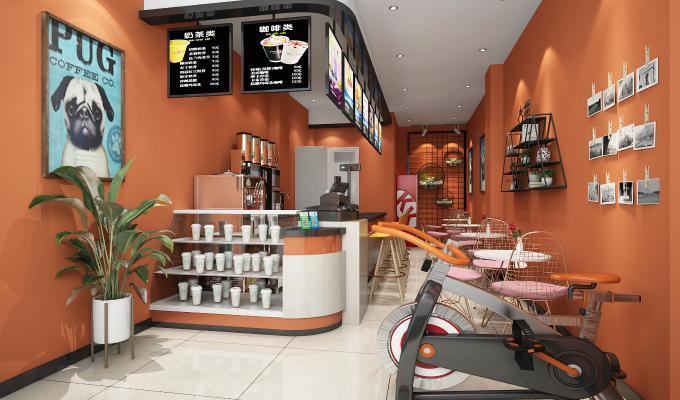现代奶茶店 餐桌椅