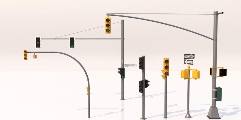 现代红绿灯 指示牌