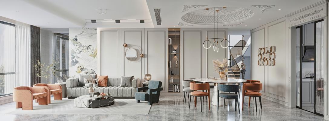 法式輕奢客廳 餐廳