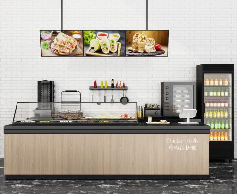 现代快餐厅 柜台