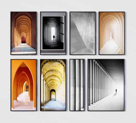 现代建筑挂画 装饰画 景深画