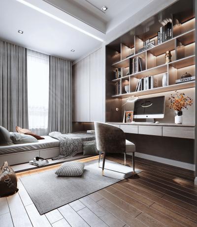 现代风格卧室 书桌 书柜