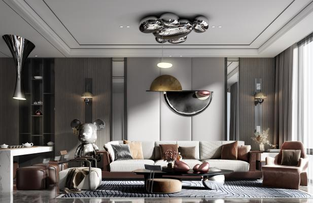 现代客厅 沙发组合 椅子 单人沙发 茶几 台灯 凳子 背景墙