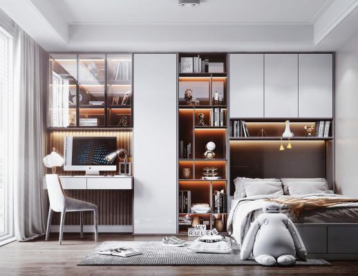 现代风格榻榻米卧室 书房 书桌