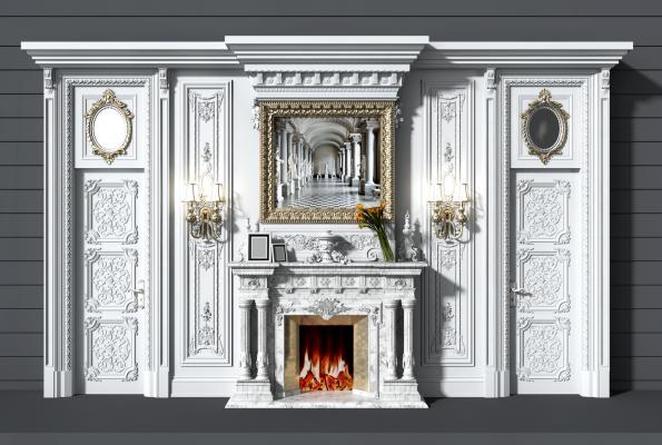 法式雕花护墙板 壁炉 背景墙