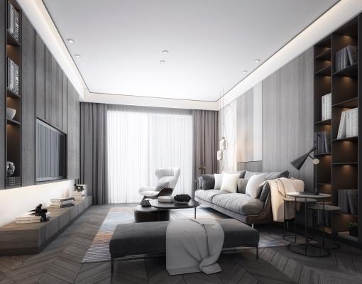 现代黑白客厅