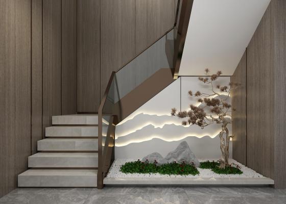 新中式楼梯间园艺景观