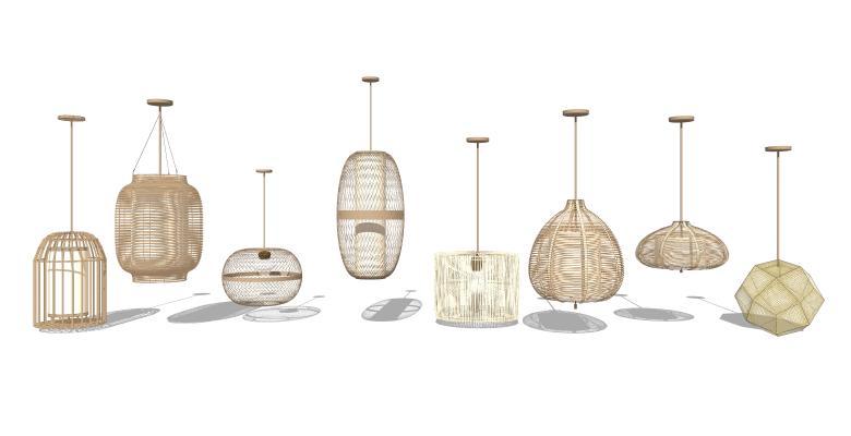 中式吊灯 竹灯 灯具