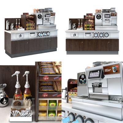 现代咖啡机 备餐台 收银台