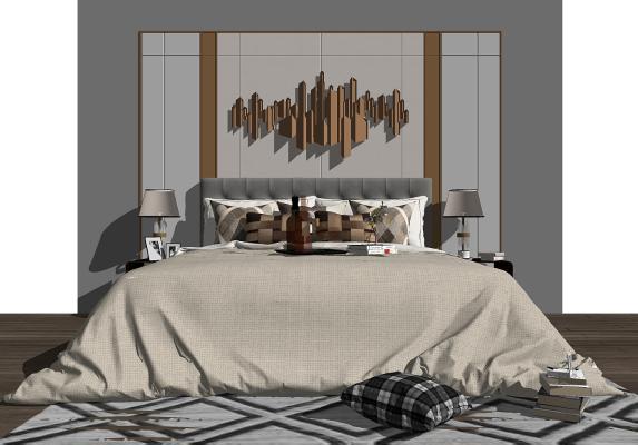 现代卧室背景墙 床 床头柜组合