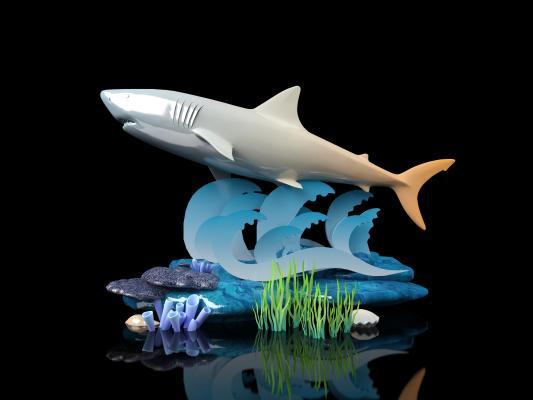 现代鲨鱼摆件