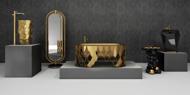 后现代奢华浴缸 卫浴用品 洗手台 洗漱用品 浴室镜柱盆