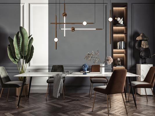 现代餐厅 餐桌 方形餐桌