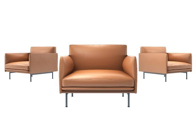 现代单人皮质皮革单人沙发