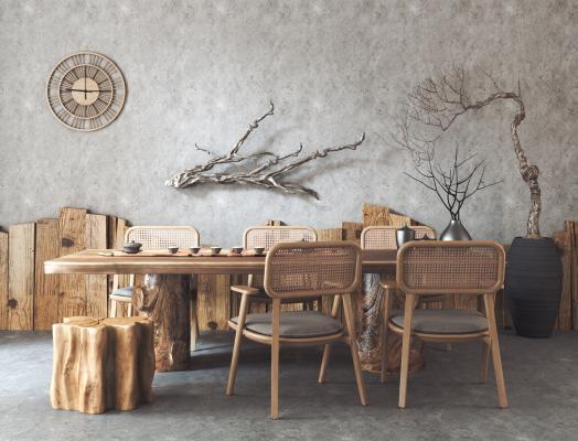 侘寂风茶桌椅组合