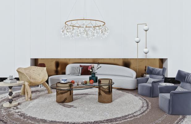 现代沙发 茶几 单人沙发