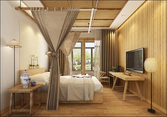 日式民宿客房 床 桌子