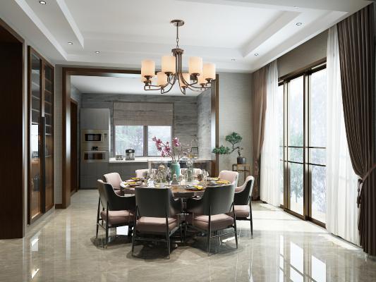 新中式餐厅 吊灯 餐桌椅