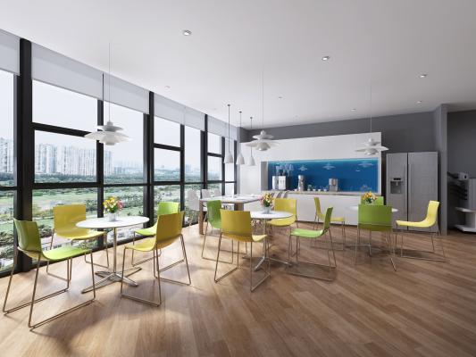现代茶水间 休闲桌椅 吊灯