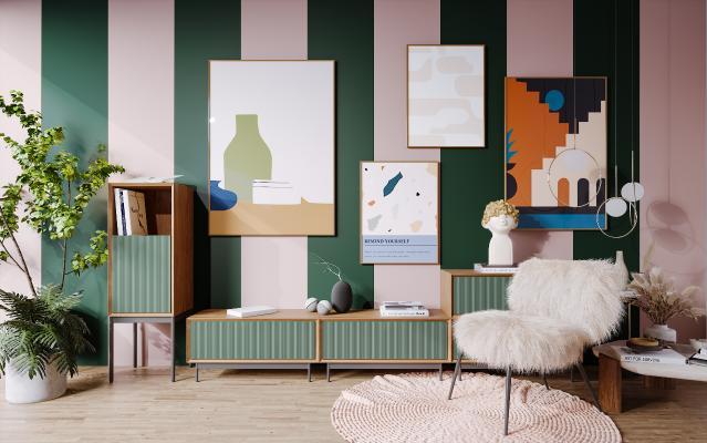 北欧风格电视柜 沙发 单人椅 地毯 吊灯 挂画 雕塑 盆栽