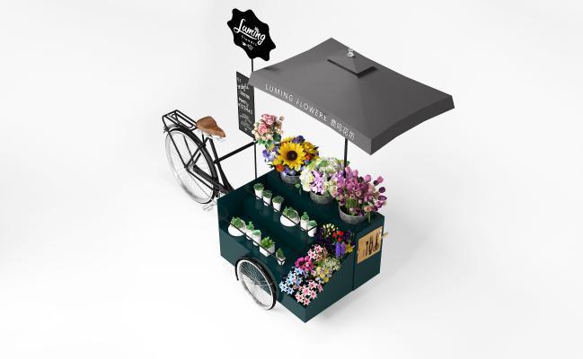 现代移动花车 鲜花售卖车 自行车 鲜花车