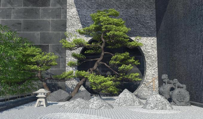 新中式庭院景观 枯山水景观 迎客松