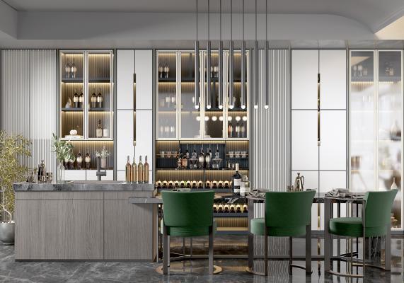 现代餐厅 吊灯 酒柜