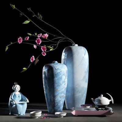 新中式风格摆件组合 茶具 茶壶 花瓶