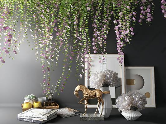 现代 摆件组合 花艺