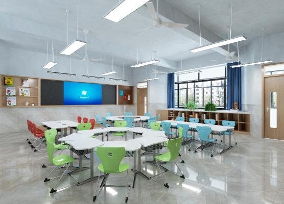 现代学校教室 吊灯 黑板