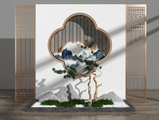 新中式屏风隔断 旱景景观背景墙
