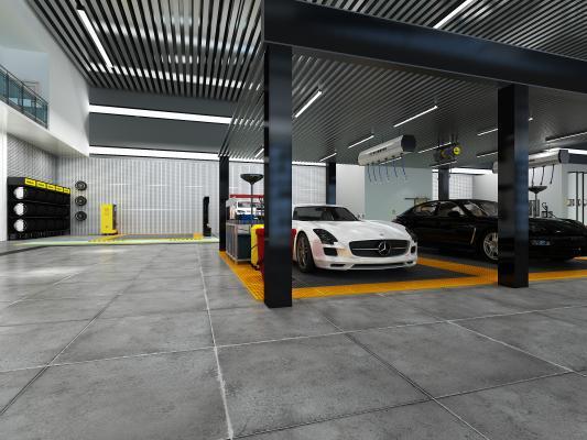现代汽车汽修城4S店 老板办公室前台 大厅展厅