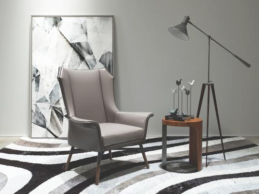 现代单人沙发 落地灯 边几 装饰画