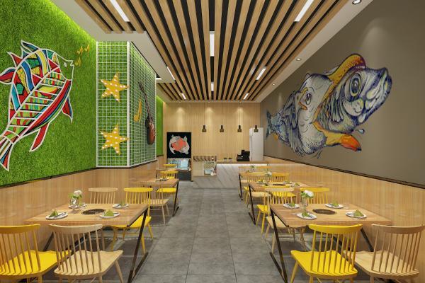 现代火锅鱼店 吊灯 壁画