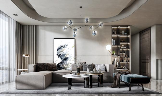现代客厅 多人沙发 长凳 茶几 吊灯 台灯 落地灯