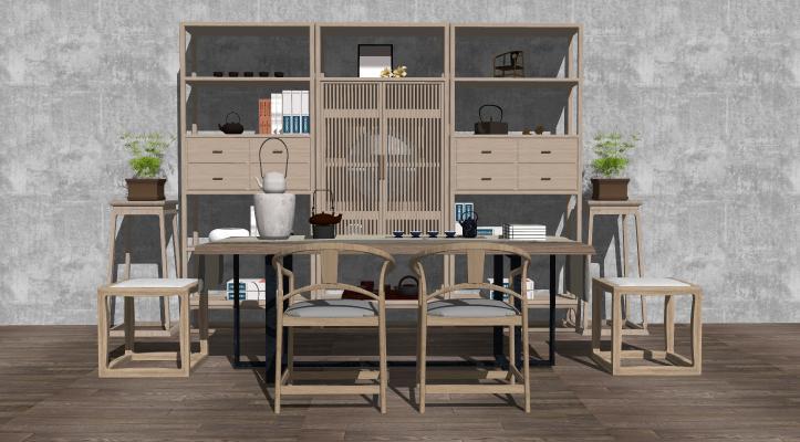新中式书桌椅子 书柜 茶台茶桌