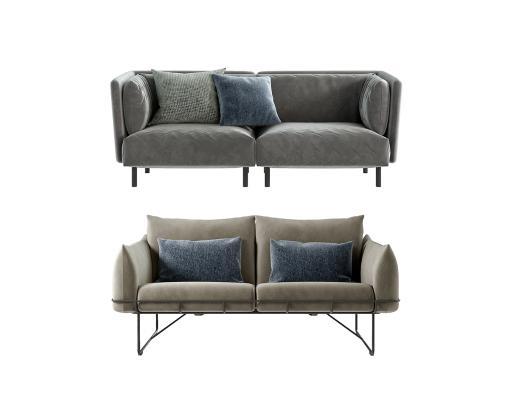 现代布艺双人沙发组合