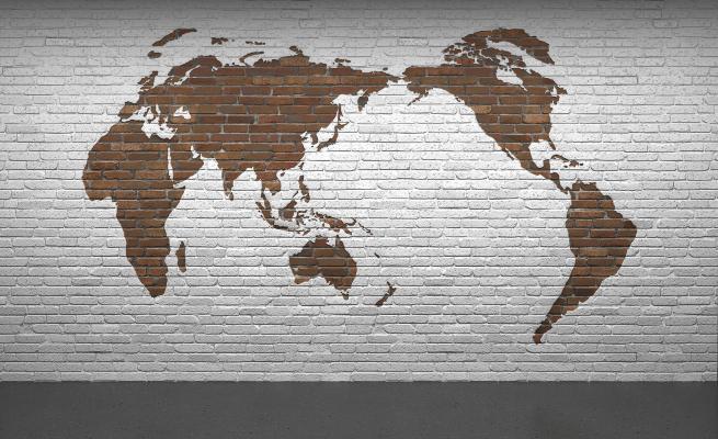 工业风格墙饰墙绘 世界地图砖墙 掉漆砖墙 图形砖墙