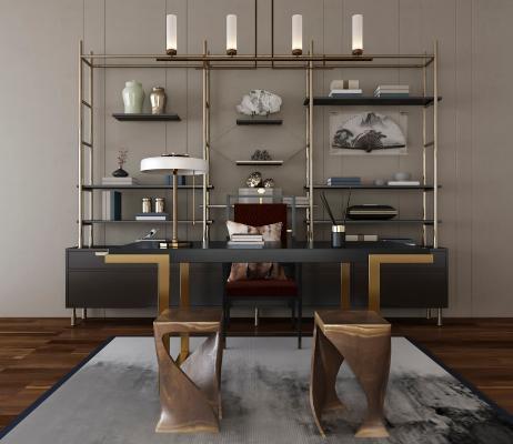 现代书柜 书桌椅组合