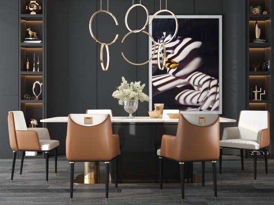 现代轻奢橙色餐厅 桌椅 吊灯 饰品摆件