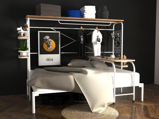 白色铁艺上下床高架床
