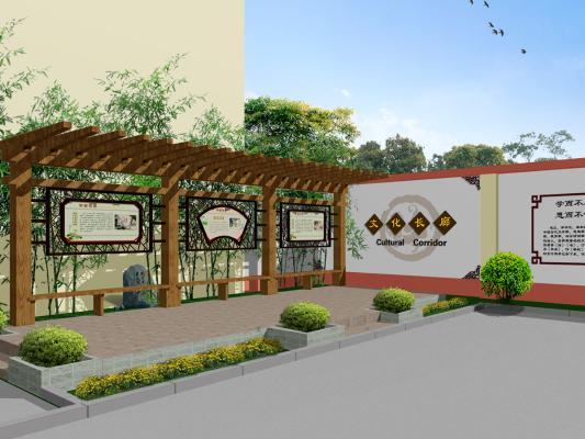 新中式学校 传统文化景观墙